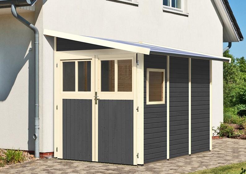 Karibu Holz-Gartenhaus Wandlitz 3 Anlehnhaus - 19 mm Wandstärke( dreiwandig)  - terragrau