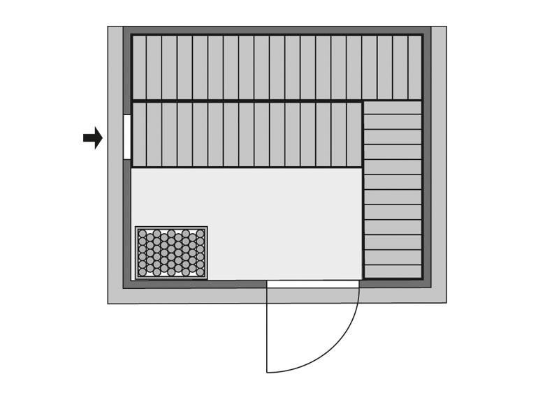 Karibu Massiv Sauna Sonara easy (Fronteinstieg) 40 mm mit Dachkranz inkl. Ofen 9 KW ext. Steuerung