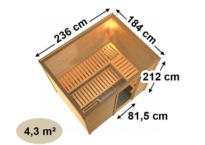 Karibu Massiv Sauna Sonara easy (Fronteinstieg) 40 mm mit Dachkranz inkl. Ofen 9 kW Bio-Kombi ext. Steuerung