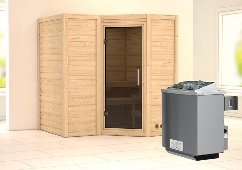 Karibu Massiv Sauna Sahib 1 easy (Eckeinstieg) 40 mm inkl. Ofen 9 kW mit integr. Steuerung