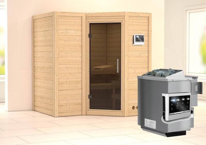 Karibu Massiv Sauna Sahib 1 easy (Eckeinstieg) 40 mm  inkl. Ofen 9 kW Bio-Kombi ext. Steuerung