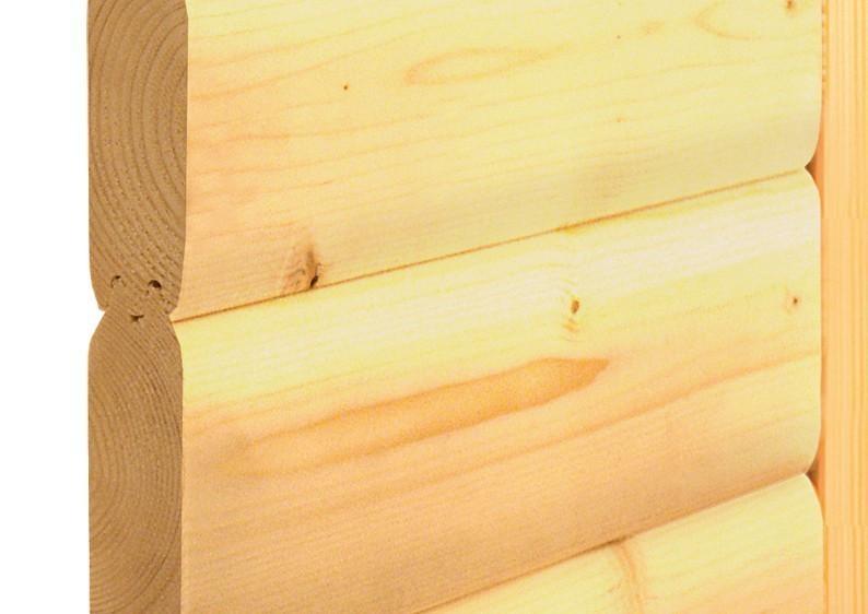 Karibu Massiv Sauna Sahib 1 easy (Eckeinstieg) 40 mm mit Dachkranz ohne Zubehör