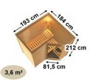 Karibu Massiv Sauna Sahib 1 easy (Eckeinstieg) 40 mm mit Dachkranz inkl. Ofen 9 kW mit integr. Steuerung