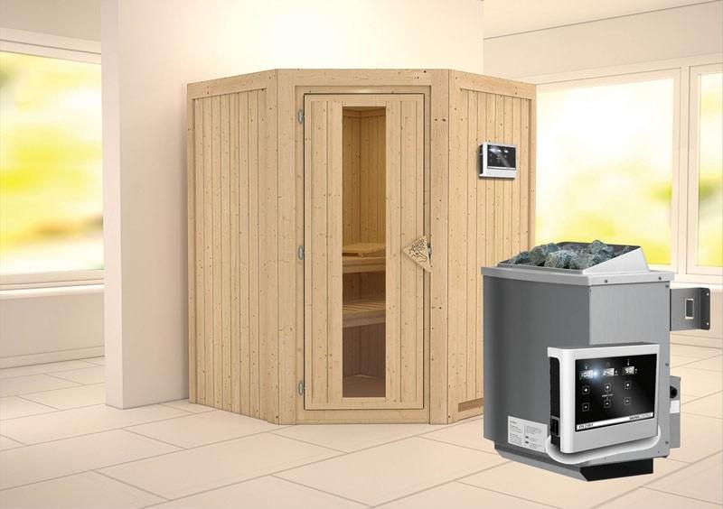 Karibu System Sauna Larin Energiespartür (Eckeinstieg) 68 mm Ofen 9 KW externe Strg easy