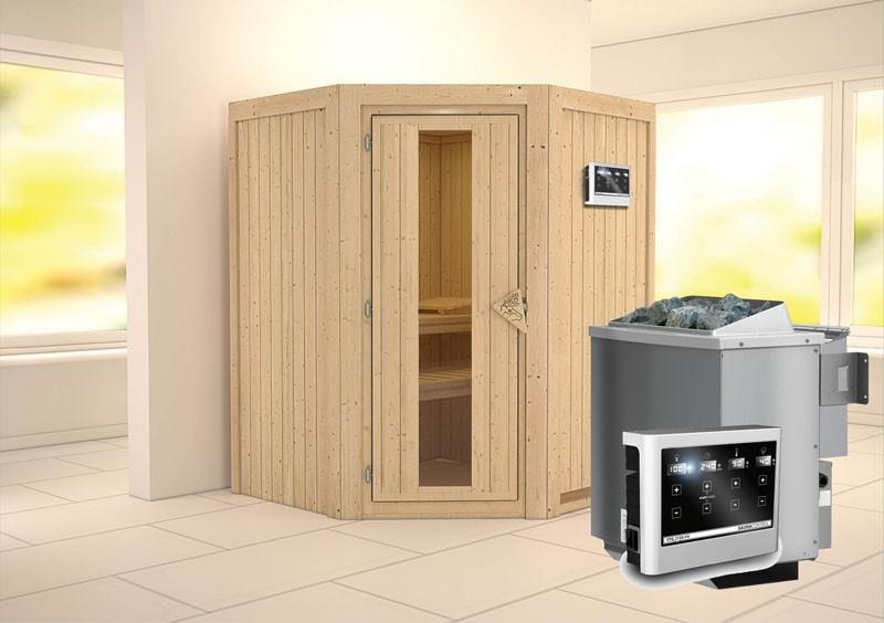 Karibu System Sauna Larin Energiespartür (Eckeinstieg) 68 mm Ofen 9 kW Bio externe Strg easy