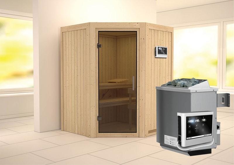 Karibu System Sauna Larin easy (Eckeinstieg) 68 mm Ofen 9 KW externe Strg easy