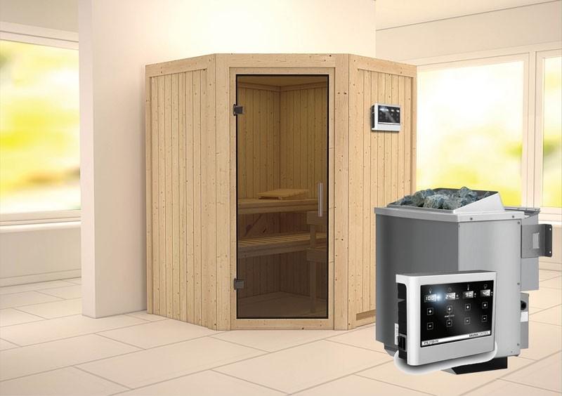 Karibu System Sauna Larin easy (Eckeinstieg) 68 mm Ofen 9 kW Bio externe Strg easy
