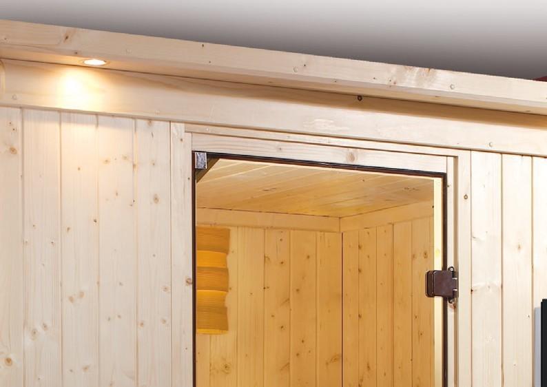 Karibu System Sauna Larin Satiniert (Eckeinstieg) 68 mm mit Dachkranz Ofen 9 kW integr. Strg