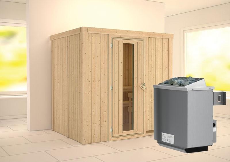 Karibu System Sauna Bodin Energiespartür (Fronteinstieg) 68 mm Ofen 9 kW integr. Strg