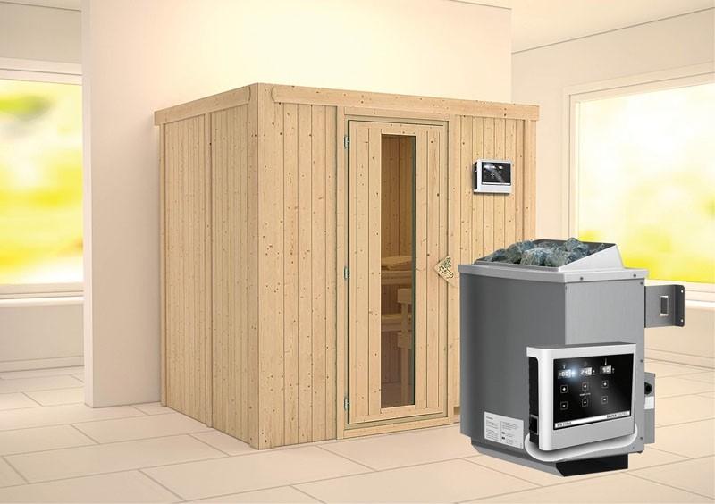 Karibu System Sauna Bodin Energiespartür (Fronteinstieg) 68 mm Ofen 9 KW externe Strg easy