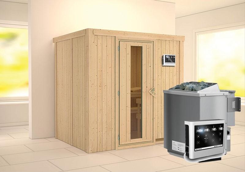 Karibu System Sauna Bodin Energiespartür (Fronteinstieg) 68 mm Ofen 9 kW Bio externe Strg easy