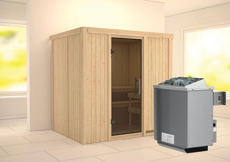Karibu System Sauna Bodin easy (Fronteinstieg) 68 mm Ofen 9 kW integr. Strg