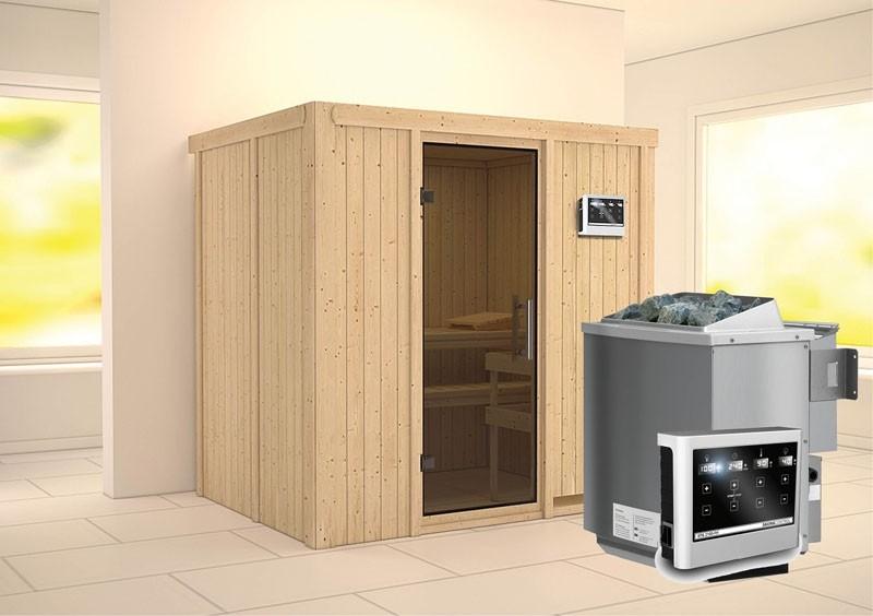 Karibu System Sauna Bodin easy (Fronteinstieg) 68 mm Ofen 9 kW Bio externe Strg easy