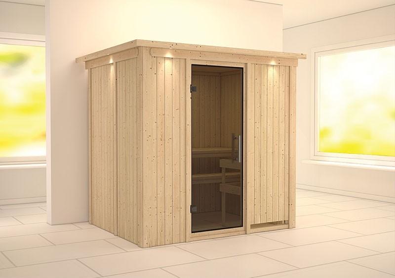 Karibu System Sauna Bodin easy (Fronteinstieg) 68 mm mit Dachkranz ohne Zubehör