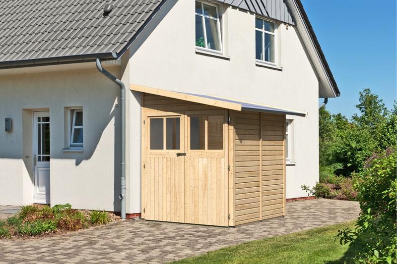 Karibu Holz-Gartenhaus Wandlitz 2 Anlehnhaus - 19 mm Wandstärke( dreiwandig)  - naturbelassen