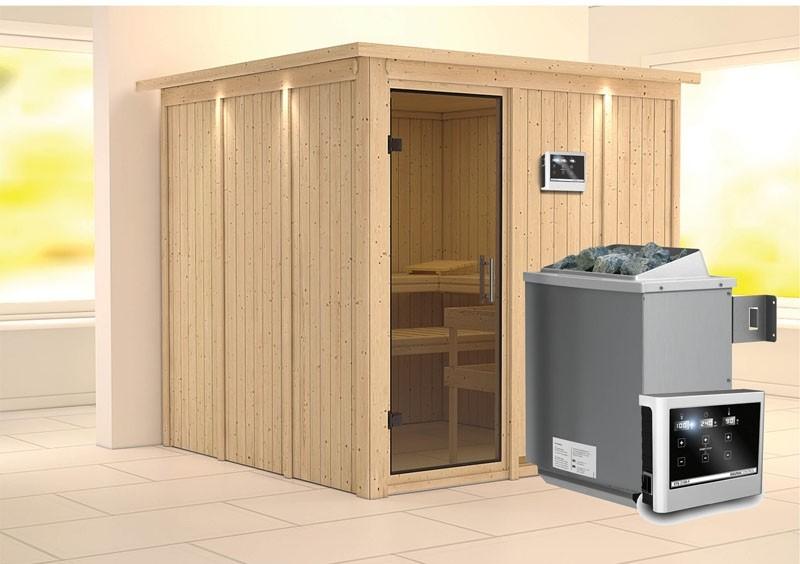 Karibu System Sauna Rodin easy (Fronteinstieg) 68 mm mit Dachkranz Ofen 9 KW externe Strg easy