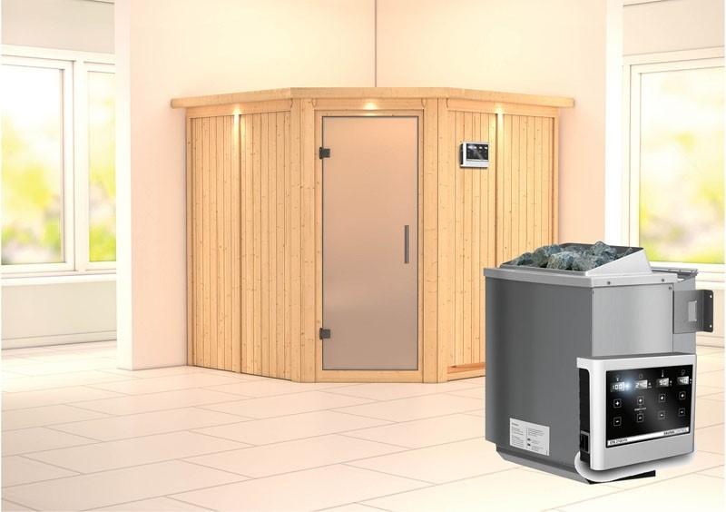 Karibu System Sauna Jarin Satiniert (Eckeinstieg) 68 mm mit Dachkranz Ofen 9 kW Bio externe Strg easy