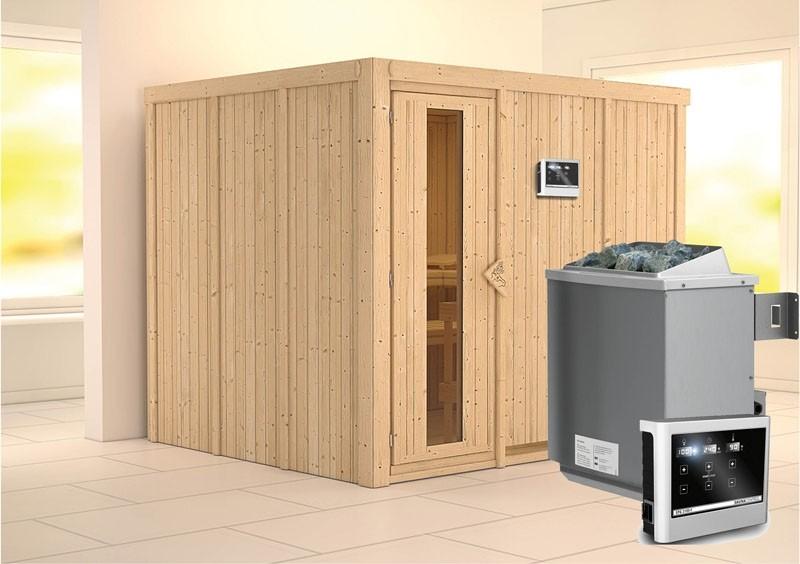 Karibu System Sauna Gobin Energiespartür (Fronteinstieg)  68 mm Ofen 9 KW externe Strg easy