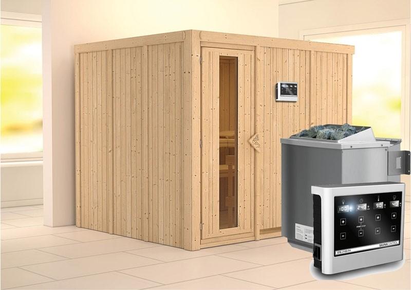 Karibu System Sauna Gobin Energiespartür (Fronteinstieg)  68 mm Ofen 9 kW Bio externe Strg easy