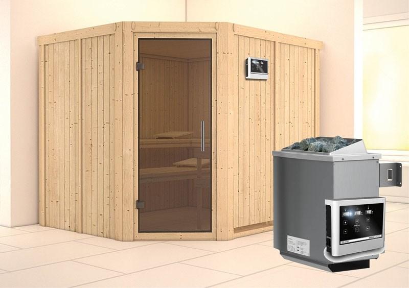 Karibu System Sauna Malin easy (Eckeinstieg) 68 mm Ofen 9 KW externe Strg easy