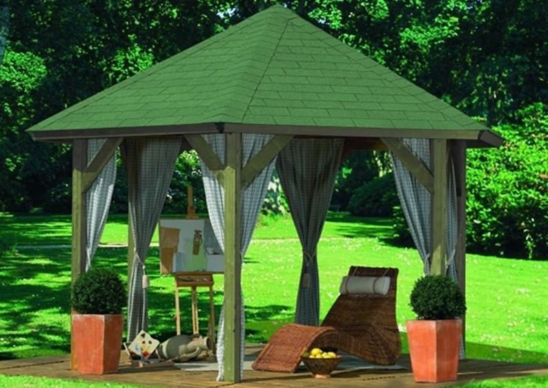Sonderangebot: Karibu Holzpavillon Oslo 2 6-Eck Pavillon Classic- kdi