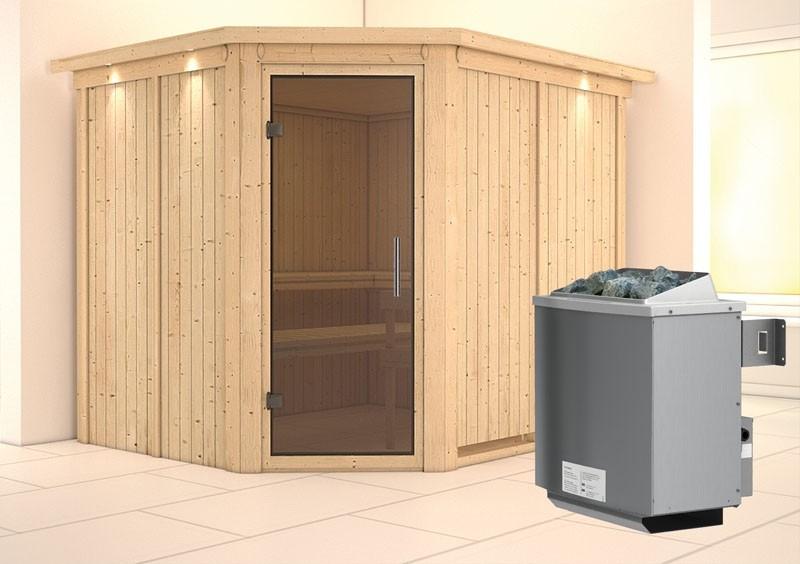 Karibu System Sauna Malin easy (Eckeinstieg) 68 mm mit Dachkranz Ofen 9 kW integr. Strg