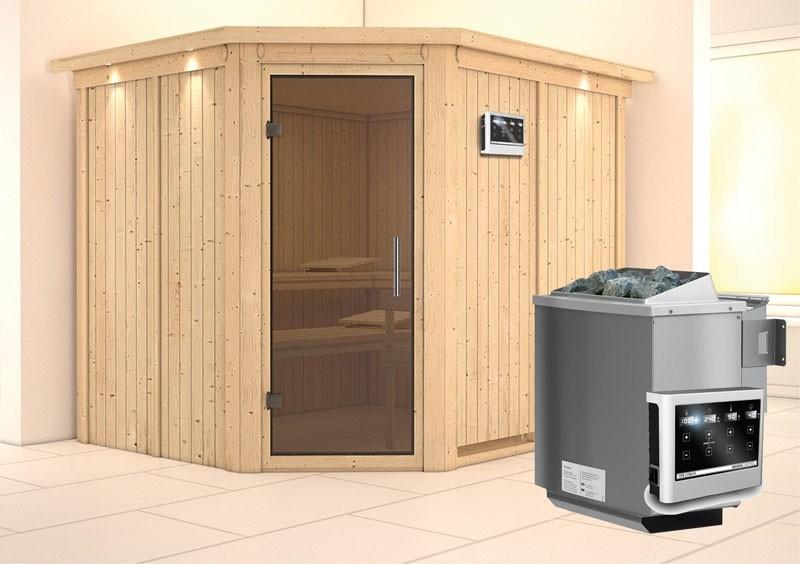 Karibu System Sauna Malin easy (Eckeinstieg) 68 mm mit Dachkranz Ofen 9 kW Bio externe Strg easy