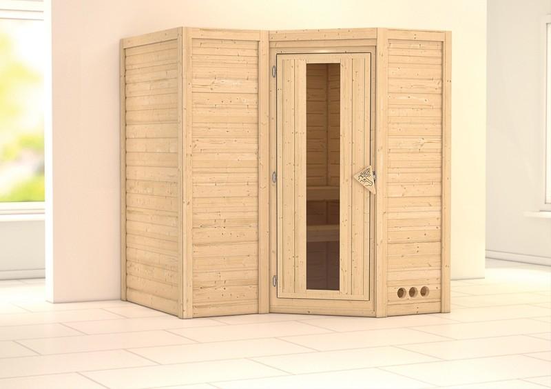 Karibu Massiv Sauna Sahib 1 Energiespartür (Eckeinstieg) 40 mm ohne Zubehör