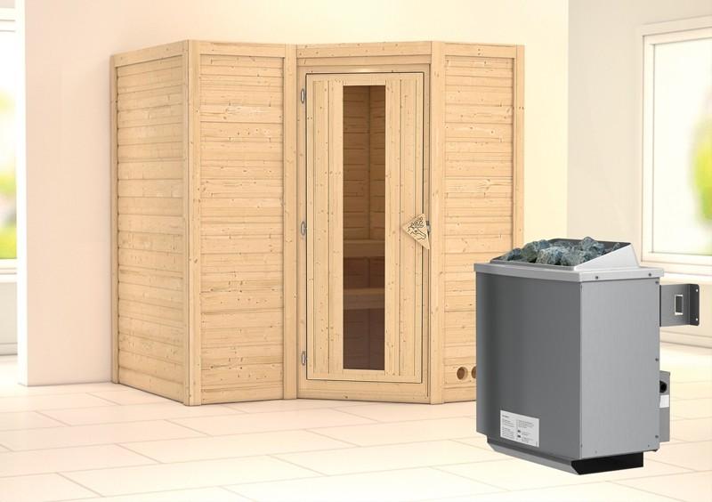 Karibu Massiv Sauna Sahib 1 Energiespartür (Eckeinstieg) 40 mm inkl. Ofen 9 kW integr. Strg