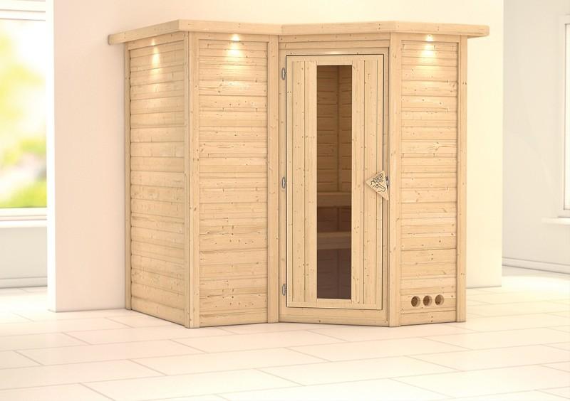 Karibu Massiv Sauna Sahib 1 Energiespartür (Eckeinstieg) 40 mm mit Dachkranz ohne Zubehör