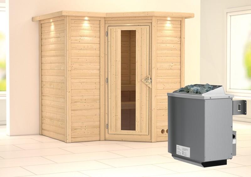 Karibu Massiv Sauna Sahib 1 Energiespartür (Eckeinstieg) 40 mm mit Dachkranz Ofen 9 kW integr. Strg