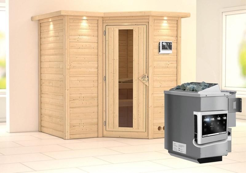 Karibu Massiv Sauna Sahib 1 Energiespartür (Eckeinstieg) 40 mm mit Dachkranz Ofen 9 kW Bio externe Strg easy