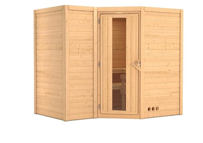 Karibu Massiv Sauna Sahib 2 Energiespartür (Eckeinstieg) 40 mm ohne Zubehör