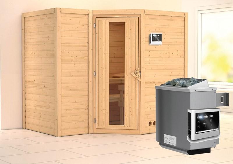 Karibu Massiv Sauna Sahib 2 Energiespartür (Eckeinstieg) 40 mm Ofen 9 KW externe Strg easy