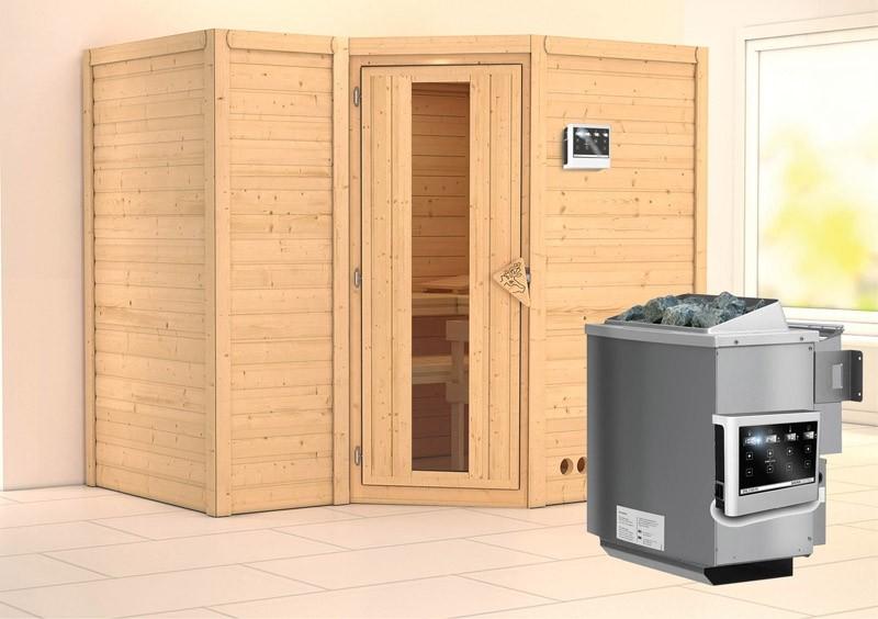 Karibu Massiv Sauna Sahib 2 Energiespartür (Eckeinstieg) 40 mm Ofen 9 kW Bio externe Strg easy