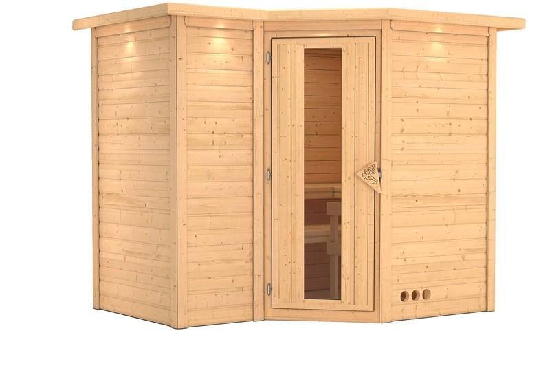 Karibu Massiv Sauna Sahib 2 Energiespartür (Eckeinstieg) 40 mm mit Dachkranz ohne Zubehör