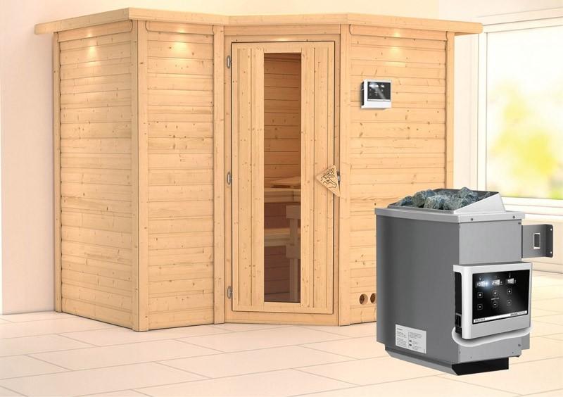 Karibu Massiv Sauna Sahib 2 Energiespartür (Eckeinstieg) 40 mm mit Dachkranz Ofen 9 KW externe Strg easy