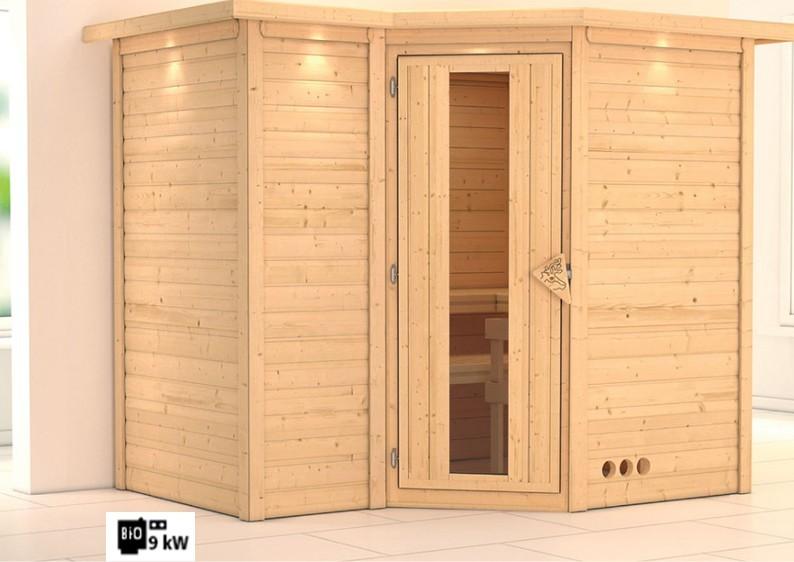Karibu Massiv Sauna Sahib 2 Energiespartür (Eckeinstieg) 40 mm mit Dachkranz Ofen 9 kW Bio externe Strg easy