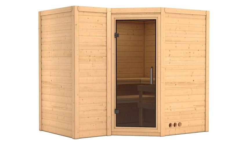 Karibu Massiv Sauna Sahib 2 easy (Eckeinstieg) 40 mm ohne Zubehör