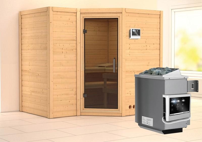 Karibu Massiv Sauna Sahib 2 easy (Eckeinstieg) 40 mm Ofen 9 KW externe Strg easy