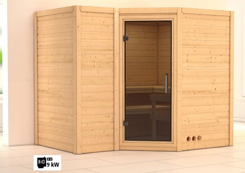 Karibu Massiv Sauna Sahib 2 easy (Eckeinstieg) 40 mm Ofen 9 kW Bio externe Strg easy