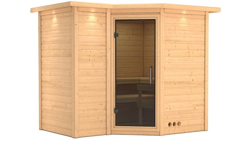 Karibu Massiv Sauna Sahib 2 easy (Eckeinstieg) 40 mm mit Dachkranz ohne Zubehör