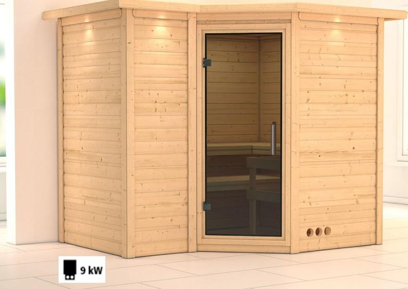 Karibu Massiv Sauna Sahib 2 easy (Eckeinstieg) 40 mm mit Dachkranz Ofen 9 kW integr. Strg