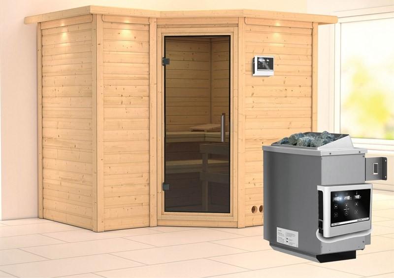 Karibu Massiv Sauna Sahib 2 easy (Eckeinstieg) 40 mm mit Dachkranz Ofen 9 KW externe Strg easy