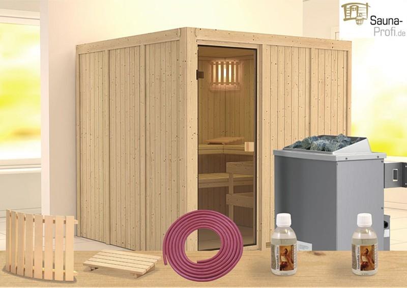 Karibu Systembau Sauna Halsa Classic (Fronteinstieg) 68 mm inkl. Ofen und Zubehör