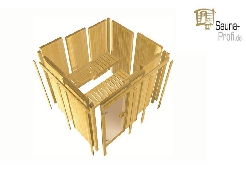 Karibu Systembau Sauna Tonnes Classic (Eckeinstieg)  68 mm inkl. Ofen + ext. Strg. und Zubehör