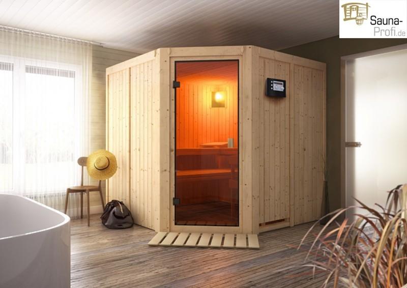 Karibu Systembau Sauna Tonnes Classic (Eckeinstieg) 68 mm inkl. Biokombi-Ofen + ext. Strg. und Zubehör