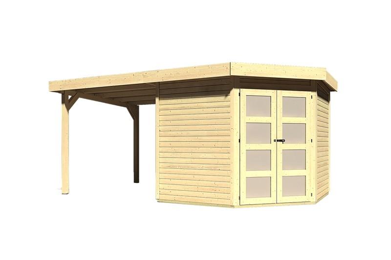 Sonderangebot: Karibu Holz-Gartenhaus Goldendorf 5  im Set mit Anbaudach  2,20 m Breit - 19 mm Flachdach Schraub- Stecksystem - naturbelassen