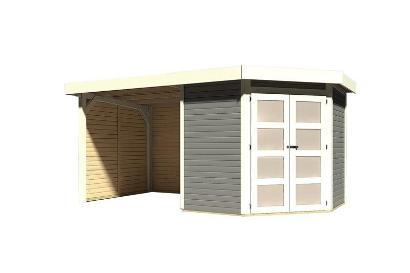 Sonderangebot: Karibu Holz-Gartenhaus Goldendorf 3  im Set mit Anbaudach  2,20 m Breit und 19 mm Seiten- und Rückwand - 19 mm Flachdach Schraub- Stecksystem - terragrau