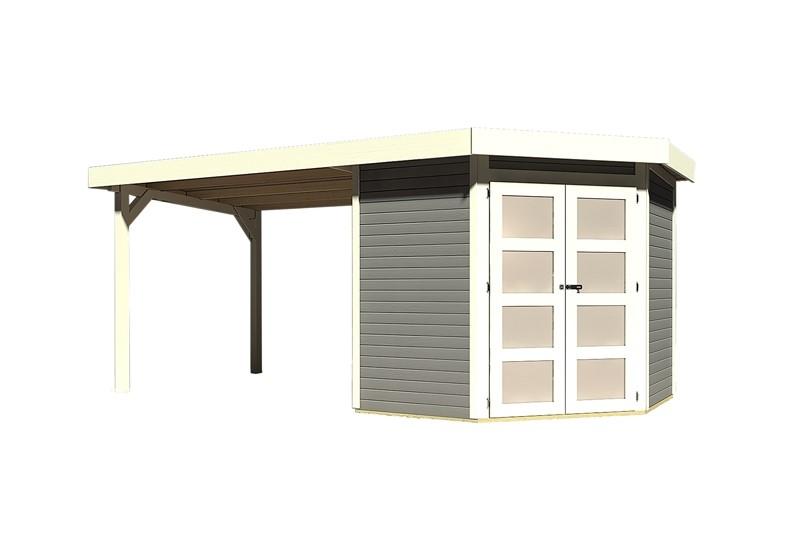 Sonderangebot: Karibu Holz-Gartenhaus Goldendorf 3  im Set mit Anbaudach  2,60 m Breit - 19 mm Flachdach Schraub- Stecksystem - terragrau